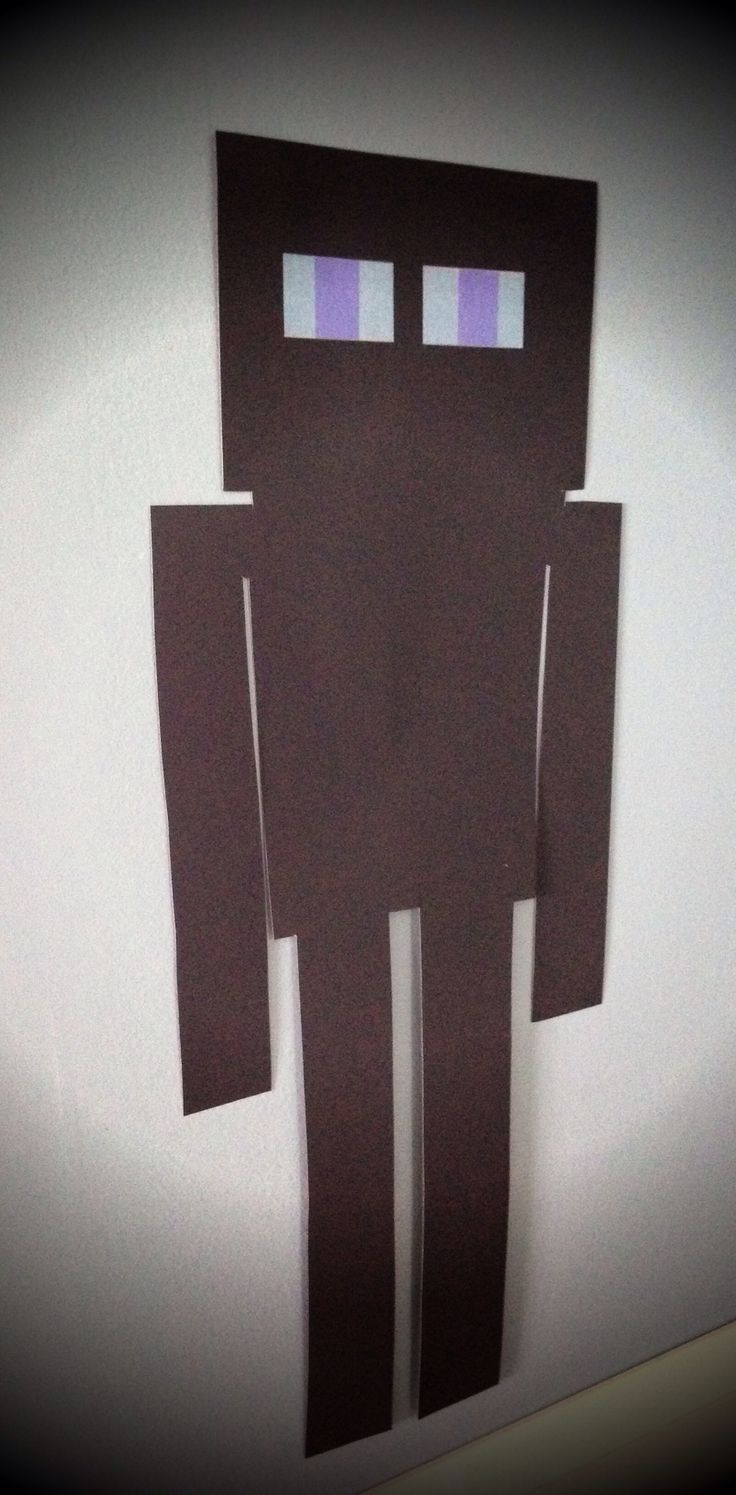 MineCraft party; Enderman on the wall decoration for birthday party. Made from 1 sheet of Bristol board from the Dollar Store. 1 sheet makes 2 Endermen. Search for a similar pin of a Creeper wall decoration.