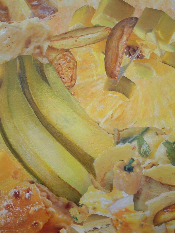 Detail van beschilderde collage. Een collage van uitgeknipte plaatjes uit supermarkt folders.