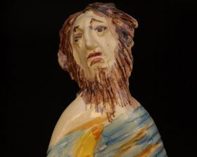 """The man of the moon - Majolica and ceramic Statuette of the collection """"Goddesses of the Full Moon"""" - made entirely with clay sculpted, molded and painted by hand, cooking in the oven at more than 1,000 degrees. #madeinitaly #artigianato"""
