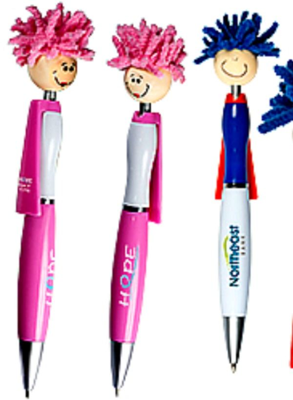 Superhero Moptopper Pen - so cute! Best Trade Show Giveaways of 2017 - An ABS plastic click-action ballpoint pen with smiley face, superhero cap, and mop-top hair made of a long-lasting chenille microfiber that also functions as a screen cleaner for any touch screen device. #tradeshow giveaways