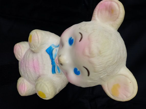 This rubber bear squeaky toy is marked on the bottom Sanitoy INC, NYC.