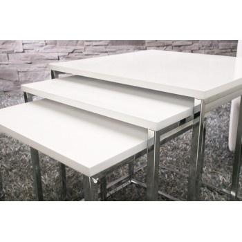 3pcs set design nest tables white high gloss finish chrome coffee tables - www.neofurn.co.uk
