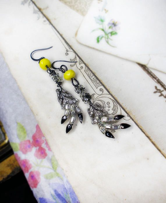 Rustic Assemblage Earrings - Reja Rhinestone Talon Glam Earrings - Bright Yellow Faceted Glass Beads - Beaded Steel Wire Wrapping