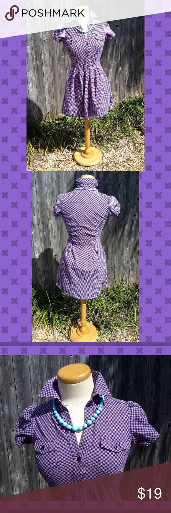 Purple Gingham Button Up Delias Dress Super comfortable cotton button up dress from Delias. In good condition. Purple and black gingham print. Also, it has pockets!!! Rockabilly/country style. Dresses