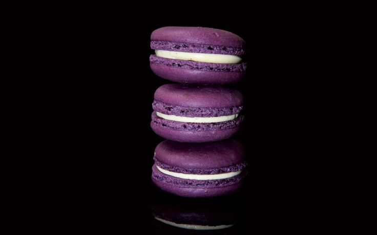 Violet and Cassis Macarons with blackcurrant ganache