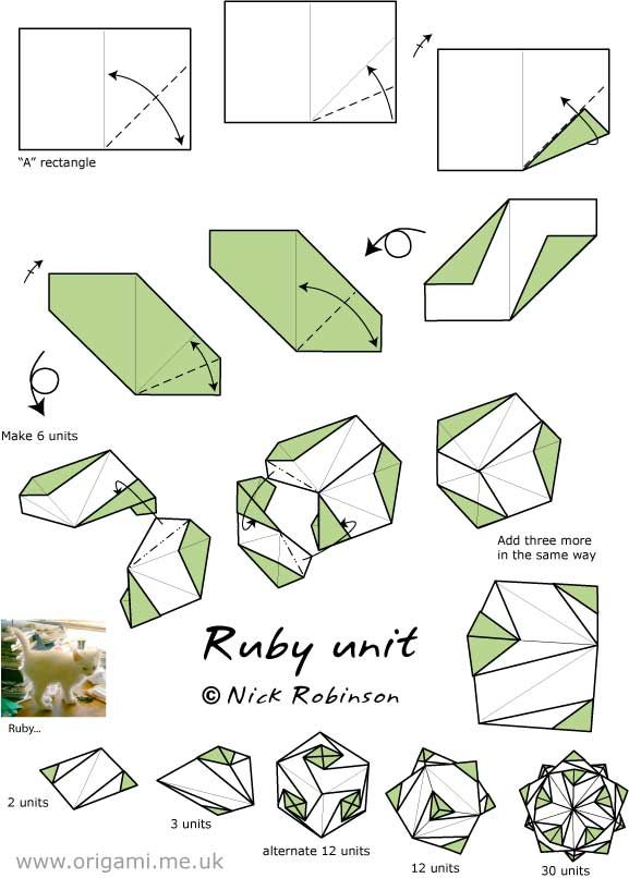 a4 quotruby unitquot by nick robinson origami kusudamas