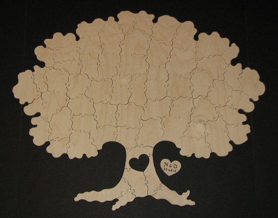 65 pc Wedding Guest Book Puzzle - Hand Cut Wooden Jigsaw Puzzle Guest Book.  Could also use as family tree.