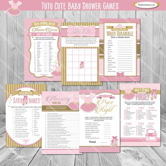 Tutu Cute Baby Shower Games Ballerina Pink and by PartyGameStork