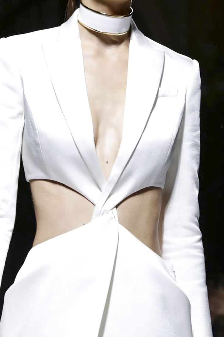 Longline jacket with twist front & cut out sides; white fashion details // Balmain S/S 2015