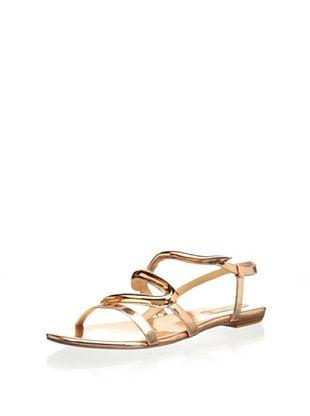 67% OFF Schutz Women's Alexia Flat Sandal (Ouro Rosa)