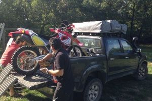 Loading the Honda XR to hide it for the contest!