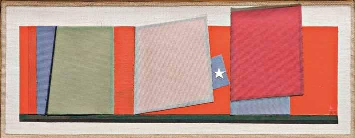 """Enrico Della Torre, """"Senza titolo"""", collage e olio su tela, cm 12,5x34, dal catalogo della mostra """"Novanta artisti per una bandiera"""", ©2013 corsiero editore"""