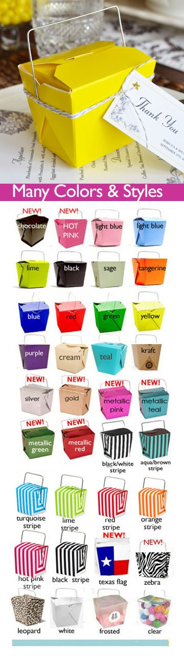 Colorful Chinese take out boxes as cute wedding favors. FDA food safe and an easy DIY favor, just fill with goodies or perfect for Candy Bars.