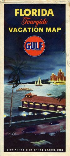 Gulf Road Map of Florida and Cuba