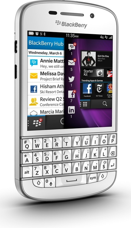 White Blackberry Q10 - side front angle