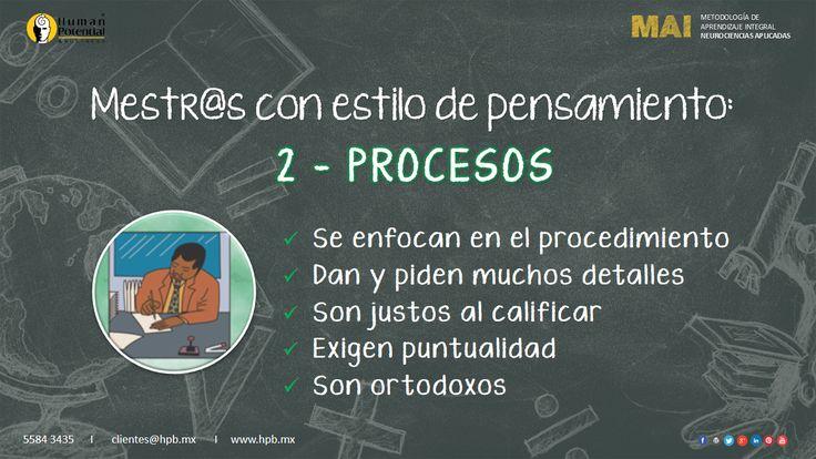 Los docentes con #EstiloDePensamiento 2 - PROCESOS tienden a ser estructurados, disciplinados, puntuales, ordenados, organizados y que son confiables con base en normas y procedimientos.🤓
