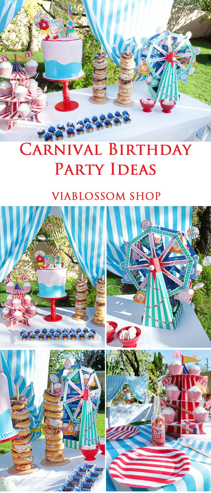 Carnival Birthday Party Ideas at the Via Blossom Blog!!