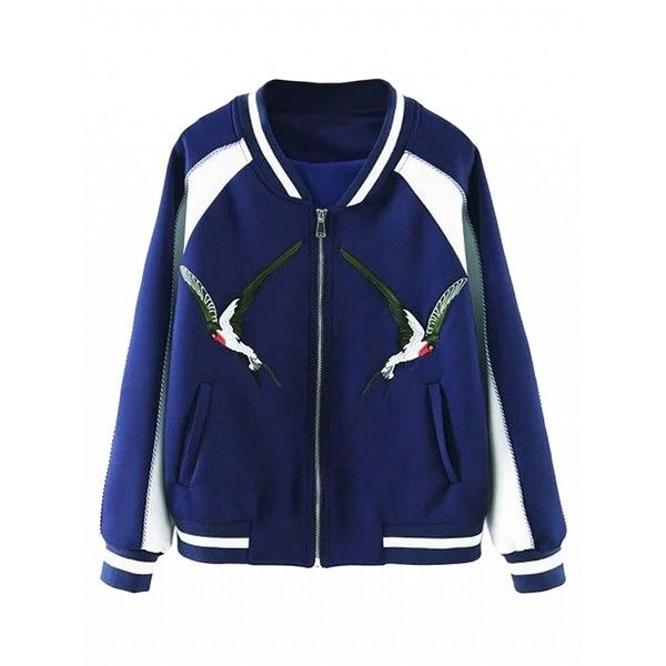 Choies Blue Contrast Embroidery Bird Bomber Jacket ($41) ❤ liked on Polyvore featuring outerwear, jackets, blue, flight jacket, bomber style jacket, bomber jacket, embroidered jacket and blouson jacket