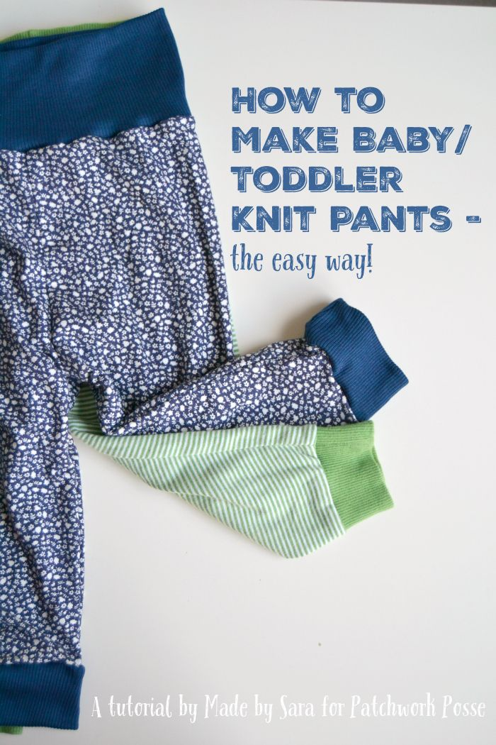 Hi everyone! Sara here again, from Made by Sara blog. Have you studied your lesson on how to sew with knits? You can find ithere just in case you missed it! I hope you have your knit materials ready because we are about to sew some cute baby/toddler knit pants! I wish I could teach …