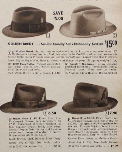 1959 Mens fedora hats                                                                                                                                                                                 More