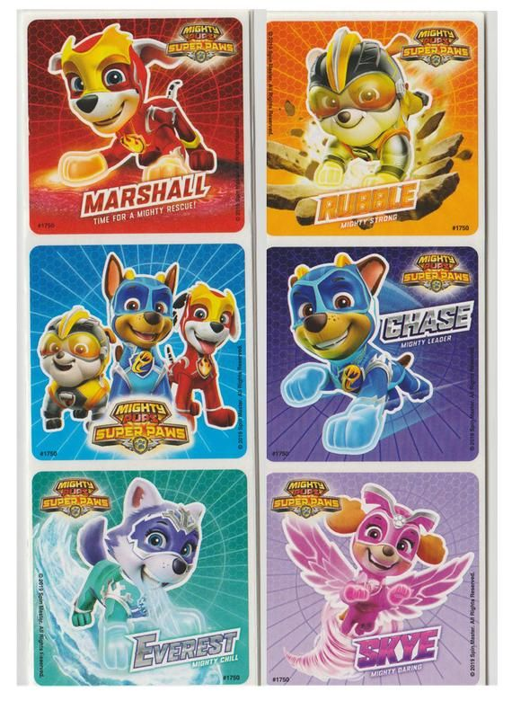 25 Paw Patrol Mighty Pups Stickers 2 5 X 2 5 Etsy Paw Patrol Paw Patrol Games Paw