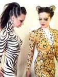 Zebra and Leopard party animals body paint by ~ange08 on deviantART