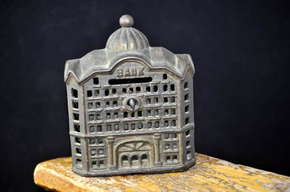 138 For Sale 2018 Antique Building Bank Vintage Metal Coin Bank