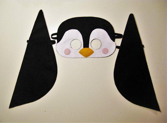 Penguin Mask Wings Set White Black Yellow Felt Party Costume For