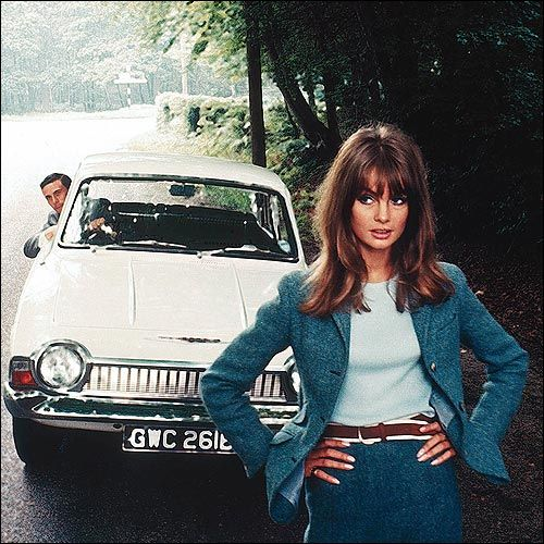 Formula One driver Jim Clark and English fashion model Jean Shrimpton in an advertising image for the Ford Corsair, United Kingdom, 1965-66, photograph by David Bailey.