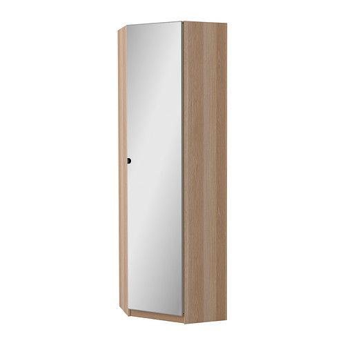 IKEA - PAX, Hoekgarderobekast, Vikedal , wit gelazuurd eikeneffect, 73/73x236 cm, , Gratis 10 jaar garantie. Raadpleeg onze folder voor de garantievoorwaarden.De deur kan links of rechts draaiend gemonteerd worden.