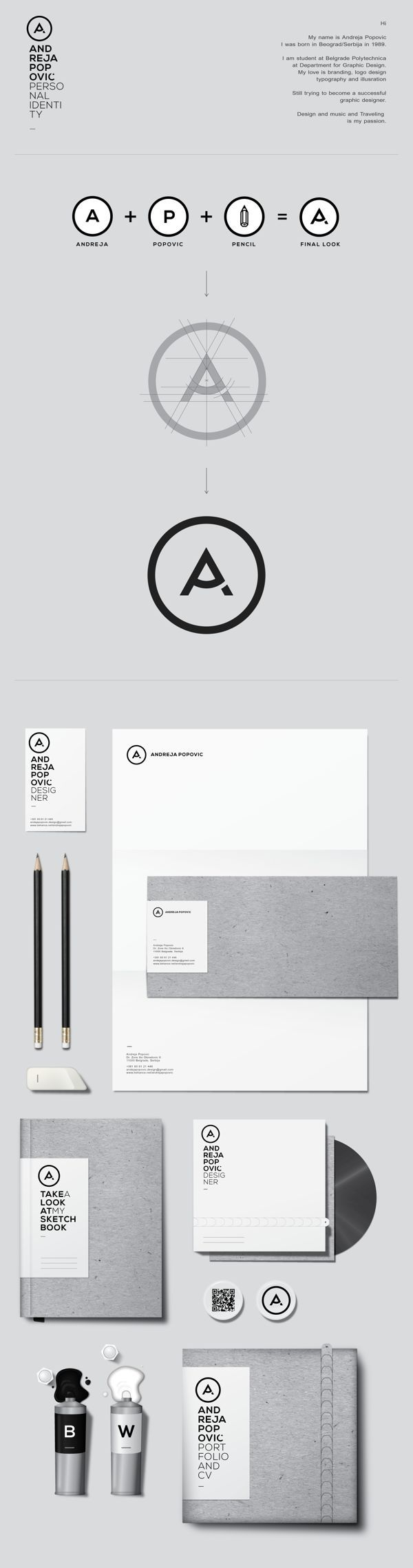 Cool Brand Identity Design. ANDREJA POPOVIĆ. #branding #brandidentity [http://www.pinterest.com/alfredchong/]. If you like UX, design, or design thinking, check out theuxblog.com podcast https://itunes.apple.com/us/podcast/ux-blog-user-experience-design/id1127946001?mt=2