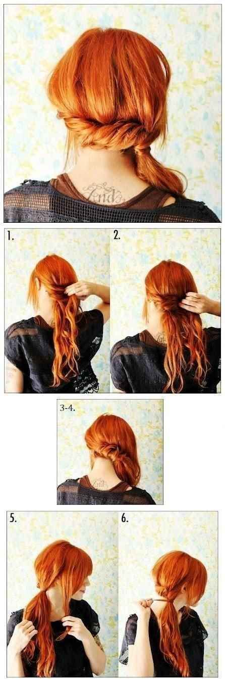 Entrelaza el pelo largo en una coleta baja. Simple hairstyles link.