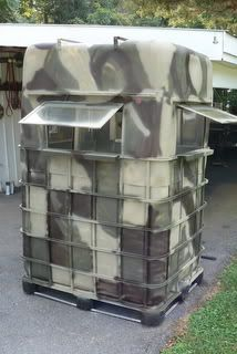 "IBC TOTES: IBC Totes are becoming a more common ""repurposed"" DEER BLIND!"
