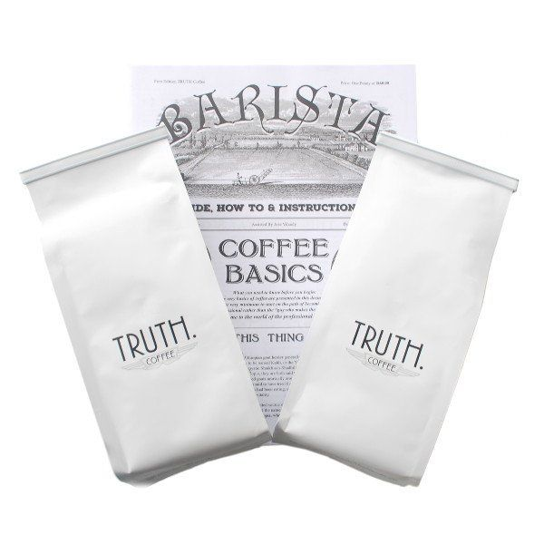 This special bundle includes a bag of each of Truth's flagship blends as well as a Truth Barista Basics booklet with coffee brewing guides