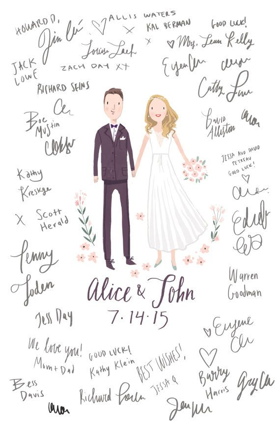 Custom Illustrated Wedding Guest Book van kathrynselbert op Etsy