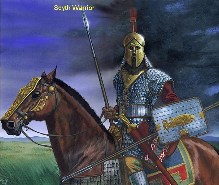 Scythian noble warrior heavy cavalry. ~ note the Greek Corinthian style helmet. The Scythian's traded with their Greek neighbours, when they weren't trying to kill each other.