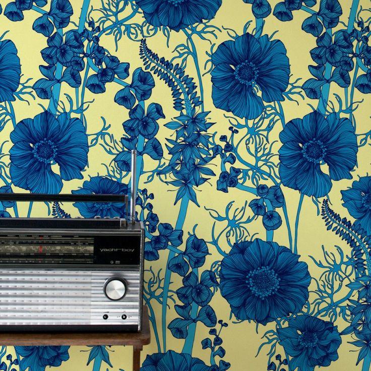 The Summer Garden in Dark Blue | www.wallpaperantics.com.au