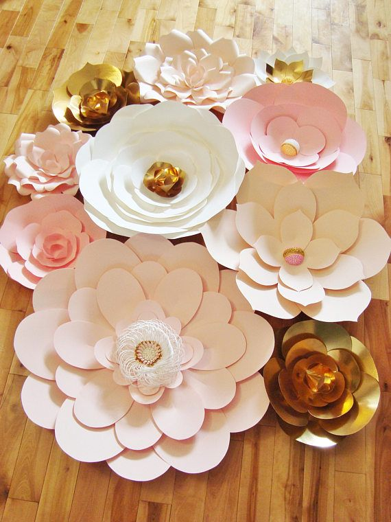 Paper Flower Wall Backdrop Wedding Flowers Display Pink White