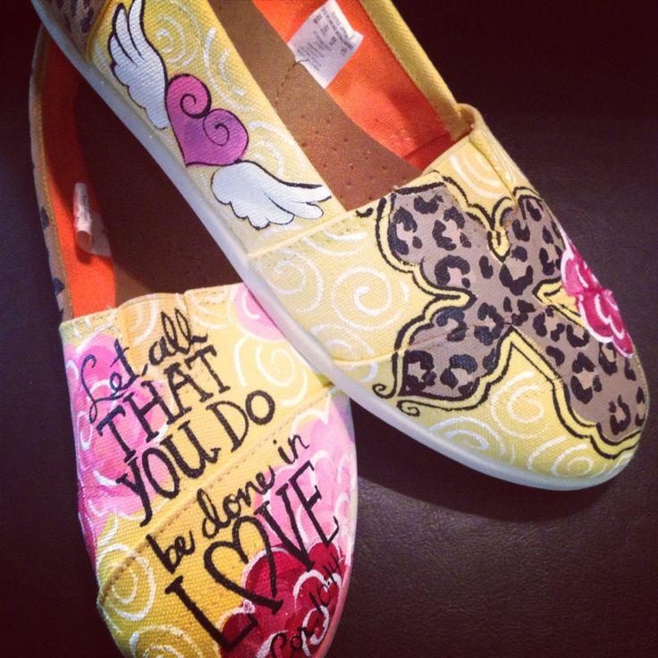 Hand painted Cross and scripture canvas shoes  size 9 by Hazelace, $98.00