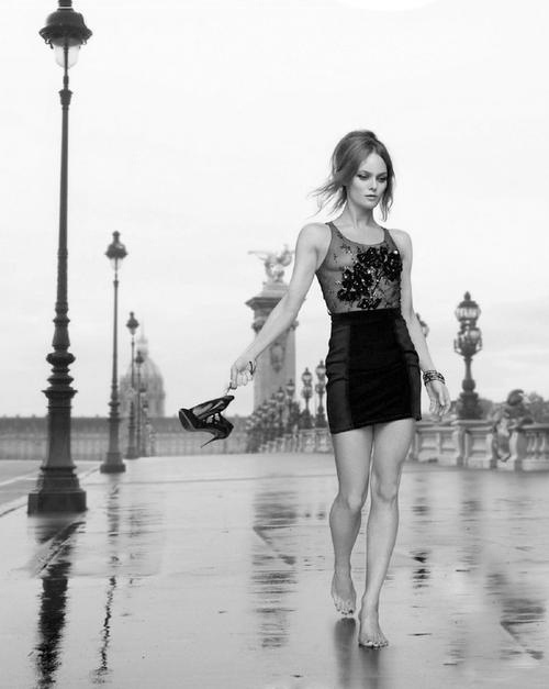 2011, Paris, Pont Alexandre III bridge. Elle Magazine, Vanessa Paradis. Photo by Jean-Baptiste Mondino (B1949)