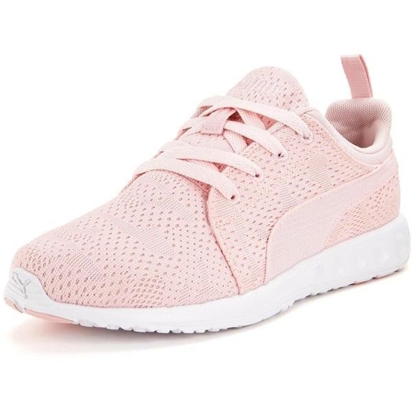 Puma Carson Runner Camo Mesh Womens Trainers (100 CAD) ❤ liked on Polyvore featuring shoes, athletic shoes, camouflage shoes, pink athletic shoes, camo shoes, summer shoes and light pink shoes