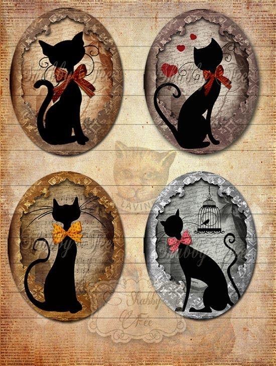 Collage Digital, Images digitales cabochons, images digitales IMPRIMABLES! - Silhouette De Chat Vintage ( no1) + GRATUIT Tags & Porteurs : Accessoires pour bijoux par shabbyfee