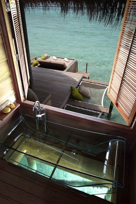 And if I'm gonna look at fantasy tubs, I'm going to go all out and include this see-through tropical over-the-ocean tub. Just hope no one swims underneath while I'm bathing in it.