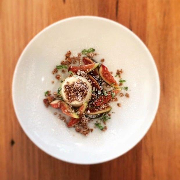Yoghurt panna cotta, fresh fig, amaranth and almond at Archie's All Day | dailyaddict.com.au
