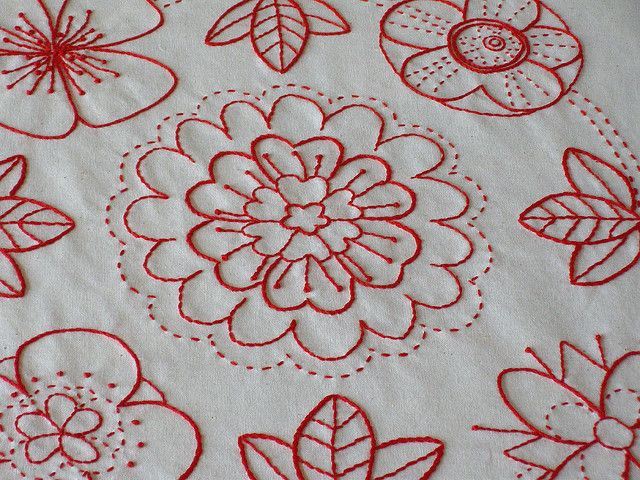 redwork from Idlepines. I adore redwork.