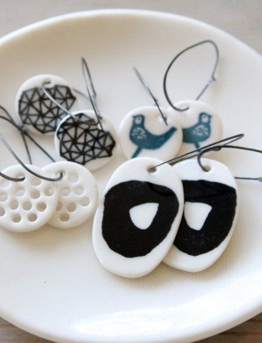 porcelain earrings.  Polymer inspiration.