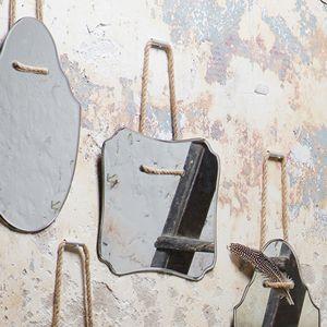 Miroir biseauté avec cordelette à suspendre (3 formes)
