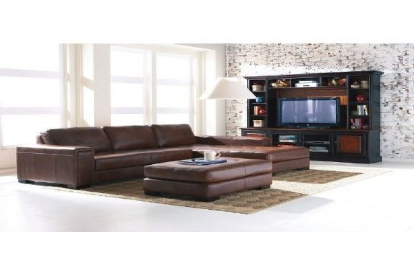 Contemporary Brown Leather Sectional Sofa Moroccan