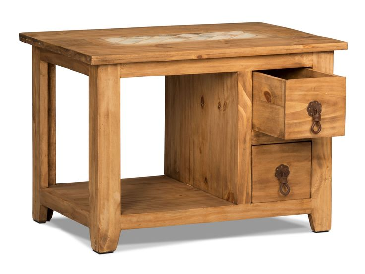 Add a little rustic flavour to your home with this Santa Fe Rusticos end table. The natural pine wood and metal hardware complement the light marble inset for a beautifully vintage-styled piece. With two drawers, you won't have to worry about losing your TV remote or extra batteries again. Plus, a lower shelf offers space to display books and decor.