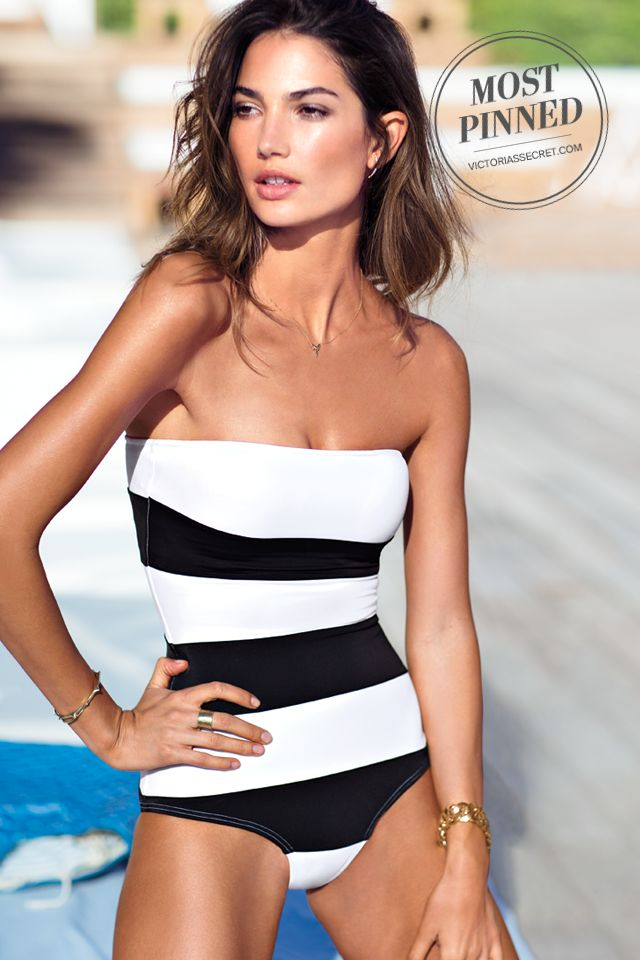 A modern take on retro-inspired style, this striped strapless swimsuit makes a demure statement. / Colorblock One-piece Bikini